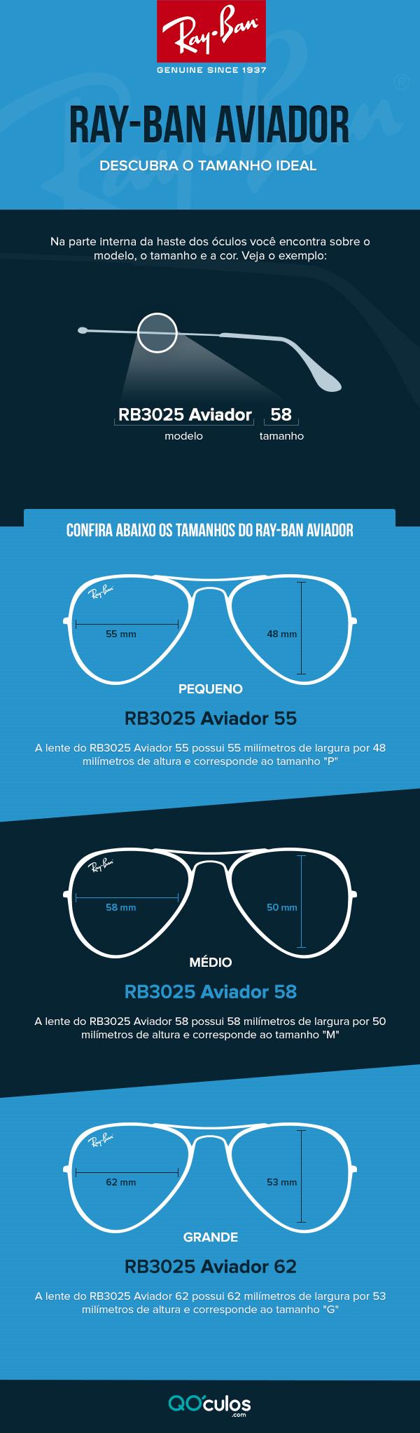 bf42a4e04 Tire suas dúvidas! Descubra o tamanho ideal do óculos Ray-Ban ...