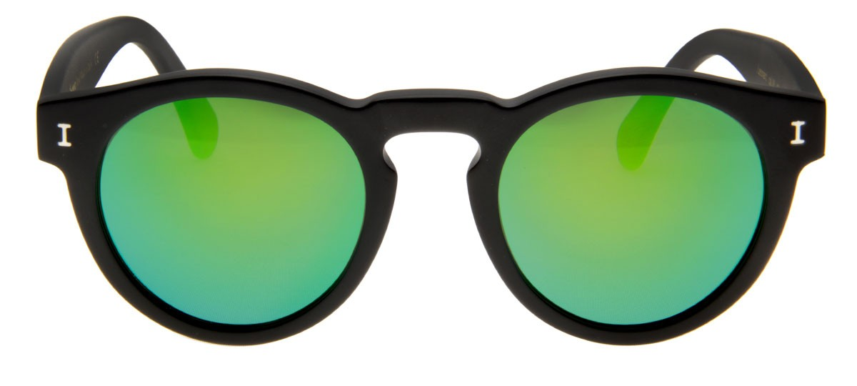 Óculos Illesteva Leonard - Lente Verde Espelhado Armação Preto Fosco   QÓculos - QÓculos.com bdc802c743