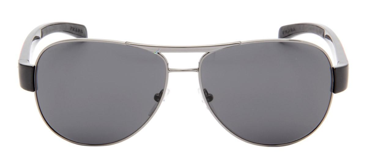 fed0043c7ff33 Prada SPS51L - Óculos de Sol Prada Masculino Cinza Espelhado   QÓculos -  QÓculos.com