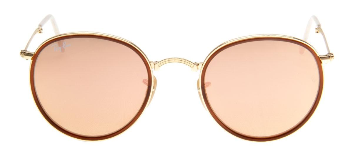 óculos No Estilo Ray Ban 3025 Dourado Com Lente Espelhada Azul ... b31d4c342e