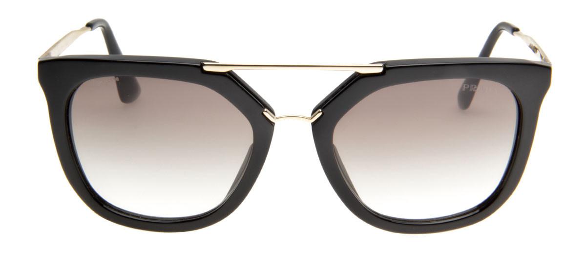 52f110e34a336 Óculos de Sol Prada SPR13Q Preto e Dourado Lentes Degradê. Loading zoom