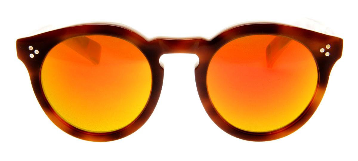d8828fcddcd10 Óculos Illesteva Leonard 2 Redondo Lente Vermelho Espelhado Armação Marrom.  Loading zoom