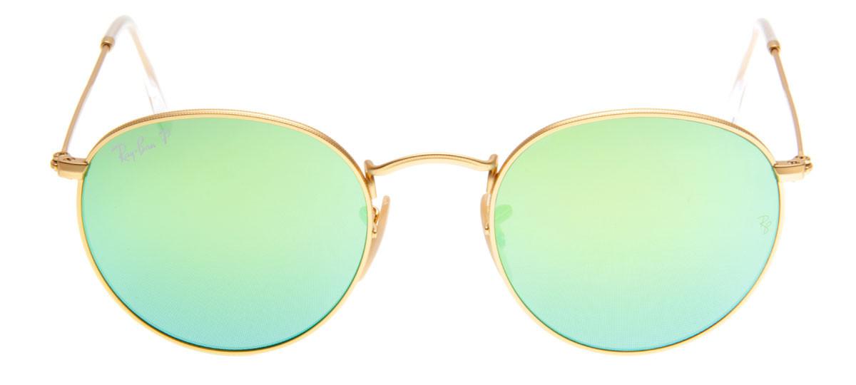 4fd8af5f883a3 Ray-Ban Round Dourado com Lentes Espelhada e Polarizada Verde ...