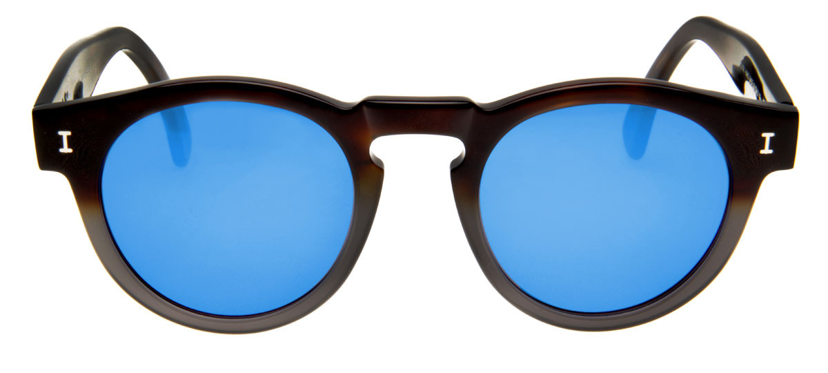 1044bd96d226d Loading zoom. Óculos Illesteva Leonard Azul Espelhado Formato Redondo.  Óculos Illesteva Leonard com lentes Azul Espelhado