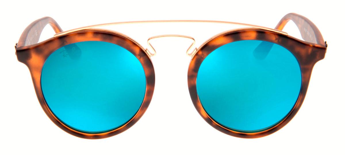 Ray Ban RB4256 Gatsby Large Redondo - Lente Espelhada Azul - QÓculos.com 7859f6d0ad