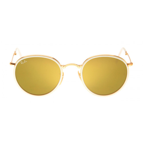 Ray-Ban Round Dobrável Dourado e Amarelo Espelhado RB3517 - QÓculos.com 5d15b597ad