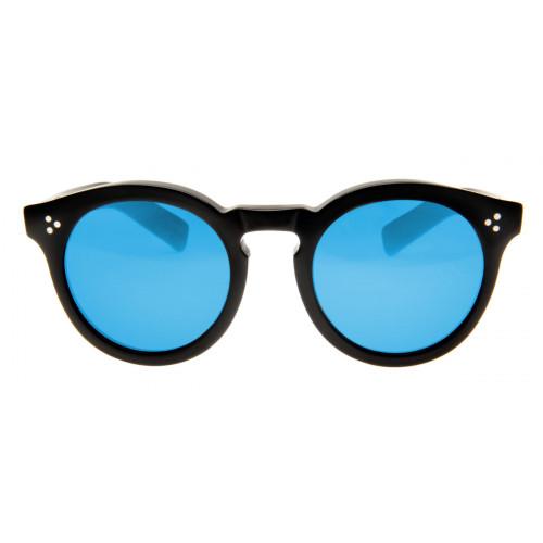 Illesteva Leonard II Redondo - Lente Azul Espelhado Armação Preto ... ec89437742