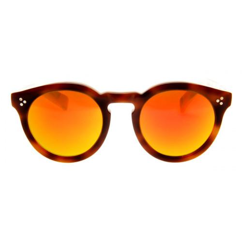 e77532c7fa8e3 Óculos Illesteva Leonard 2 Redondo Lente Vermelho Espelhado Armação Marrom