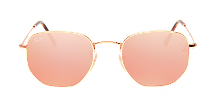 62b9755054733 Óculos Ray-Ban - Óculos Hexagonal Dourado e Rosê em 12x SEM JUROS ...