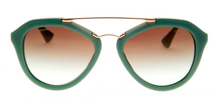 Prada SPR12Q - Óculos de Sol Prada Feminino Verde/Dourado