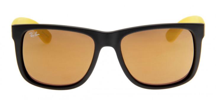 Óculos de Sol Ray Ban Justin Preto Fosco e Amarelo