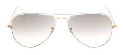 Ray-Ban RB3025JM Aviador Full Color 58 - Branco e Dourado - 146/32