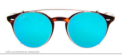 Ray-Ban Clip-On RB2180-C 49 - Prata e Azul - 2502/B7