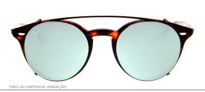 Ray-Ban Clip-On RB2180-C 49 - Preto e Prata - 2509/B8