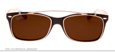 Ray-Ban Clip-On RB5228-C 53 - Prata e Marrom - 2502/73