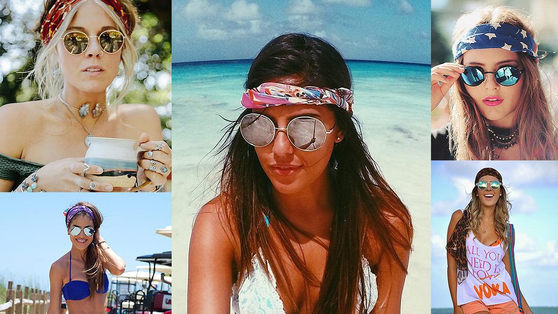 73e5366f5 Mulheres com Bandana e Óculos Espelhados Óculos Espelhados para Mulheres  com Bandana. Cabelo ...