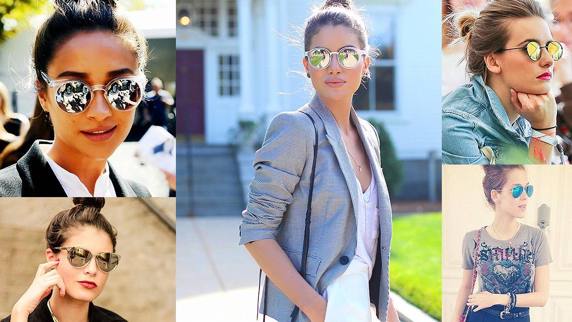 e2c9754df Mulheres com Coque e Óculos Espelhados Óculos Espelhados para Mulheres com  Coque. Mulheres com Cabelo ...