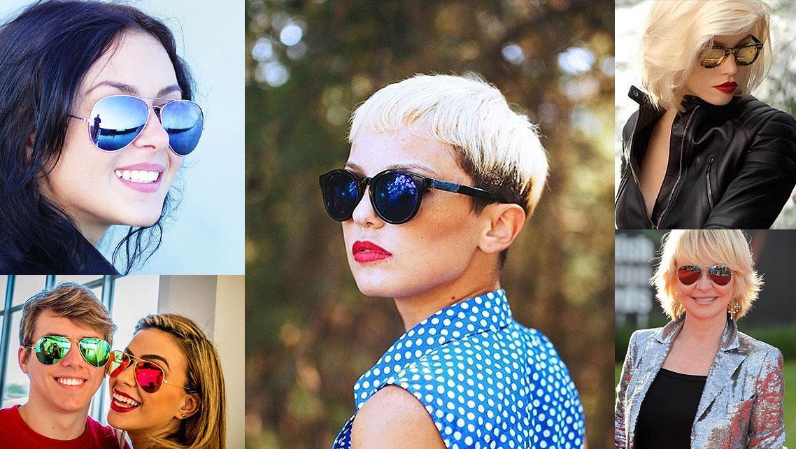 45674014a Cabelo Curto com Óculos Espelhados Óculos Espelhados para Mulheres com  Cabelo Curto