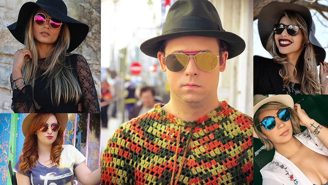 9ebea1025 Chapéu com Óculos Espelhados Homens e Mulheres com Chapéu e Óculos  Espelhados